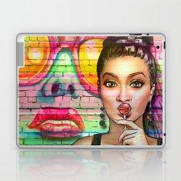 Retro Pinup Girl Lollipop Colorful Graffiti Wall Laptop & iPad Skin