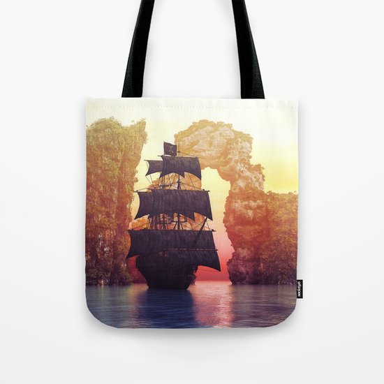 A pirate ship off an island at a sunset by simonegatterwe