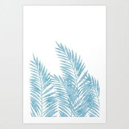 Palm Leaves Light Blue Art Print