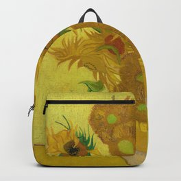 Sunflowers on Yellow Background Vincent Van Gogh Backpack