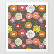 Talking Garden (gray) Art Print