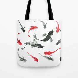Sumi-e hand drawn ink fishes, black and red. Japan traditional style. Tote Bag