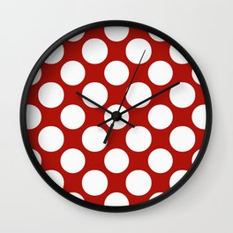 White & Red Navy Polkadot Pattern Wall Clock