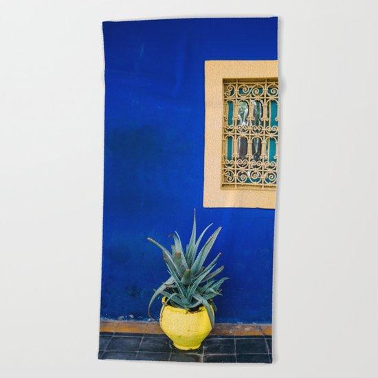 Moroccan Garden In Blue Beach Towel