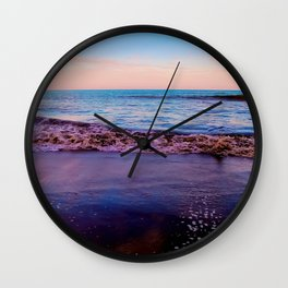 beach sunset with beautiful blue cloudy sky and blue wave in summer Wall Clock