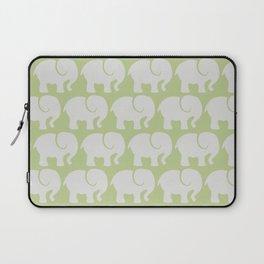 Troop Of Elephants (Elephant Pattern) - Gray Green Laptop Sleeve