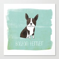 boston terrier Canvas Prints featuring Boston Terrier by 52 Dogs