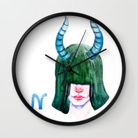 capricorn Wall Clocks featuring Capricorn by Aloke Design