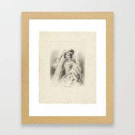 Portrait of a young lady named Lilia, Henricus Wilhelmus Couwenberg, after Cornelis Kruseman, 1838 Framed Art Print