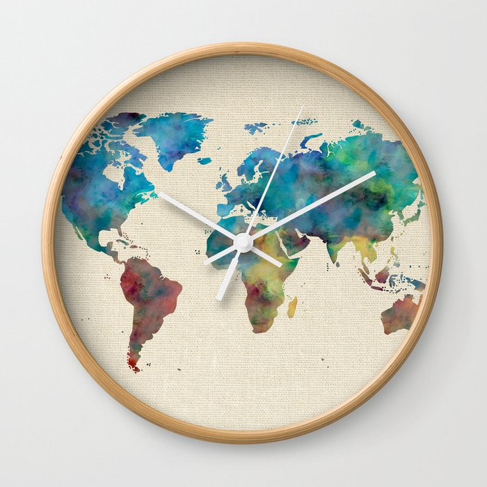 Buy World Map Clock. World Map Watercolor Linen Blue Red Yellow Green Wall Clock by