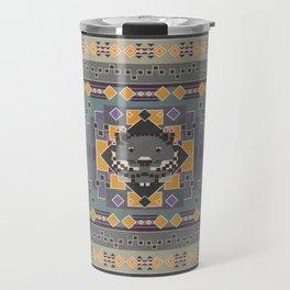 Boho Graphic Pattern Art Design - 3 Black Jaguar Travel Mug