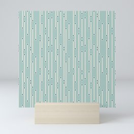 Dotted lines in cream, teal and sea foam Mini Art Print