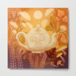 Triskel Teapot and Woodland Animals Metal Print