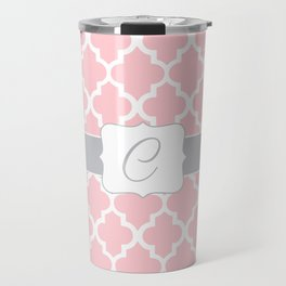 "Light Pink Moroccan Quatrefoil Pattern with ""C"" Monogram Travel Mug"