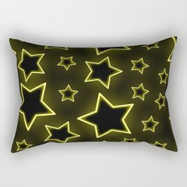 Bright neon stars on black background Rectangular Pillow