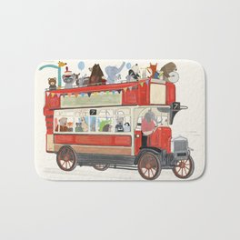 the big red party bus Bath Mat