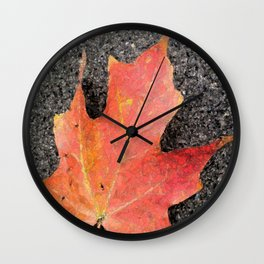 Water color of a sugar maple leaf Wall Clock