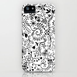 Black on White Florals iPhone Case