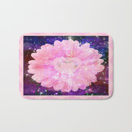 Pink flower with sparkles  Bath Mat