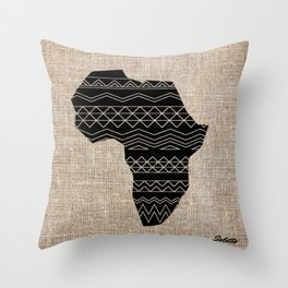 Map of Africa in Black on Beige, Ethnic Heritage, Cultural by Saletta Home Decor Throw Pillow