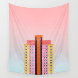 The Pastel Building (Color) Wall Tapestry