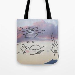 Smoking Mountain  Tote Bag