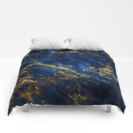 Exquisite Blue Marble With Luxury Gold Veins Comforters