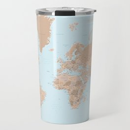 Blue and brown detailed world map with state capitals and more Travel Mug