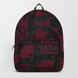 Cherry and black English half-timbered Tudor house pattern Backpack