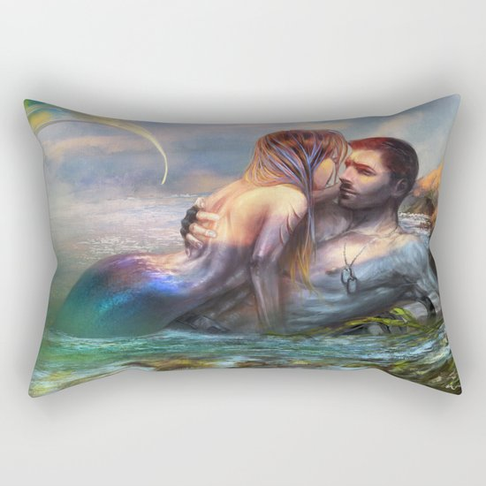 Take my breath away - Mermaid in love with soldier on the beach Rectangular Pillow