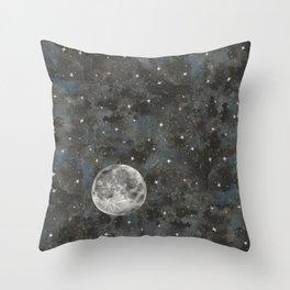 Watercolor Space Moon Robayre Throw Pillow