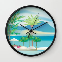 St. Kitts and Nevis - Skyline Illustration by Loose Petals Wall Clock