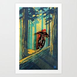 RETRO MOUNTAIN BIKE POSTER LOG JUMPER Art Print