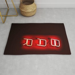 Retro Bar Sign with neon light on dark background Rug