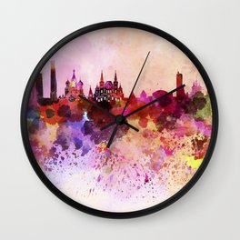Moscow skyline in watercolor background Wall Clock