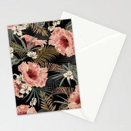 Vintage Floral & Ferns Dark Tropical Forest  Stationery Cards