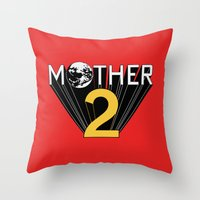 earthbound Throw Pillows featuring Mother 2 / Earthbound Promo by Studio Momo╰༼ ಠ益ಠ ༽