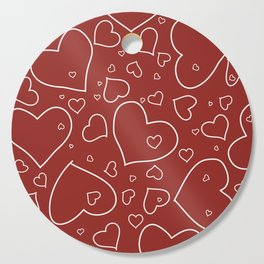 Red and White Hand Drawn Hearts Pattern Cutting Board