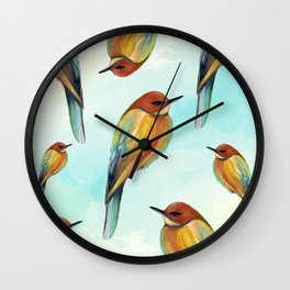 Watercolor Bird Pattern - Multicolor Feathers - Abstract Blue Sky Wall Clock