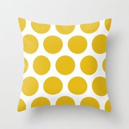 Mustard Yellow Large Polka Dots Throw Pillow