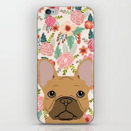 French Bulldog florals portrait dog breed custom pet portraits by pet friendly frenchie iPhone Skin