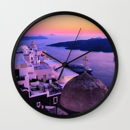 Gorgeous sunset in Santorini Wall Clock