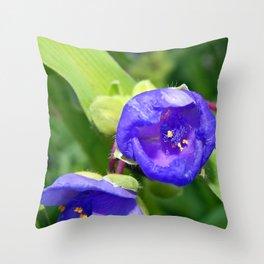 Beautiful Blue Spiderwort Throw Pillow