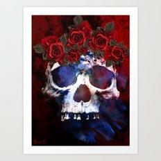 Red, White, and Blue Skull Art Print