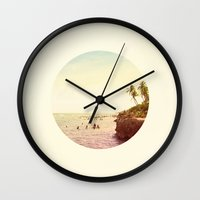 salt water Wall Clocks featuring Salt Water Dreams by M Studio