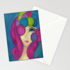 Blue Face Girl w/o Quote Stationery Cards