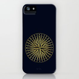 The golden compass- maritime print with gold ornament iPhone Case