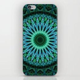 Pretty green and blue mandala iPhone Skin