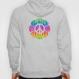 Colorful Peace Symbol Flower  Hoody
