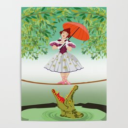 The Umbella girl With crocodile Poster